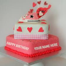 birthday cake online write name on beautiful pink heart birthday cake online