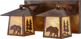 Vintage Vanity Light Meyda Tiffany 150779 Pine Tree And Bear Country Bai Vintage Copper