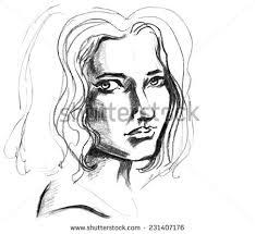 hand drawn pencil sketch face stock vector 231407176