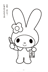 onegai my melody coloring pages sketch coloring page