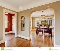 house interior view dining area entrance hall stock photo