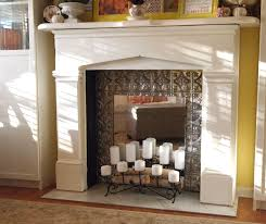 faux ceiling tin fireplace firebox a cultivated nest