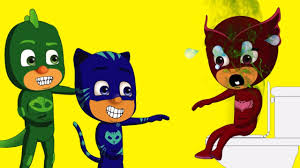 pj masks owlette crying eat pizza stomachache gekko catboy