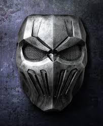 silver mask silver skull fiberglass mask rock style
