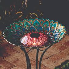 wilson and fisher solar lighted bird bath better homes and gardens solar birdbath blue walmart com
