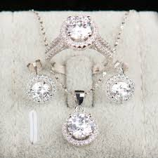 sterling silver wedding necklace images 925 sterling silver aaaaa level bridal jewelry set free shipping jpg