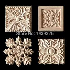 wood appliques for cabinets new 1 pcs flower wood carving natural wood appliques for furniture