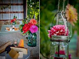 wedding flower centerpiece with colorful daisies