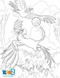 coloring page featuring blu and roberto from rio2 activities