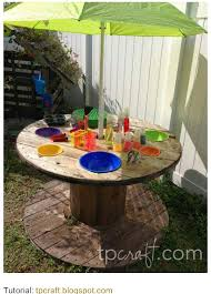 Kids Patio Umbrella Kids Picnic Table From Wooden Spool Just Add Umbrella Outside