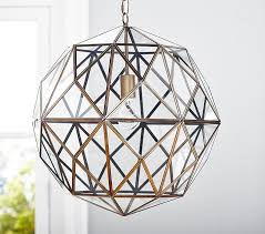 Glass Chain Chandelier Glass U0026 Metal Cage Pendant Pottery Barn Kids