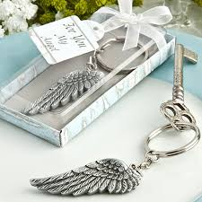 baby shower keychain favors angel wing key chain favors inexpensive baptism favors