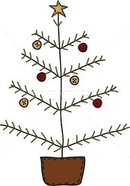 primitive christmas tree folk primitive christmas tree vector illustration neeley
