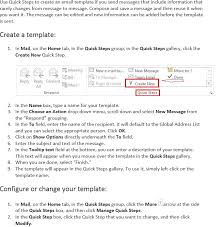 office 365 outlook 2013 using quick steps to create an email