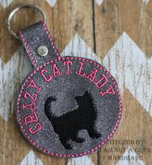 australian shepherd embroidery designs cat u2013 crazy cat lady u2013 in the hoop u2013 snap rivet key fob u2013 digital
