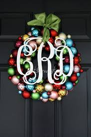 monogrammed ornament wreath 16 wreath multicolored ready to hang