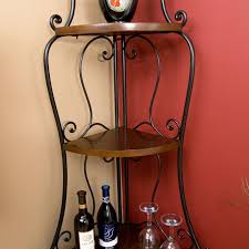 Bakers Rack Shelves Space Saving Corner Bakers Rack With Wrought Iron Frame