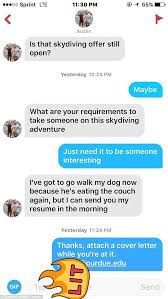 If A Dog Were Filling Out A Resume Dumped College Finds New Skydiving Partner On Tinder Daily