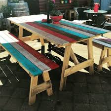 Plans For Picnic Table With Attached Benches by 16 Beautiful Garden Picnic Bench Tables And Designs Planted Well