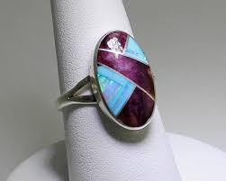turquoise opal sold sheryl martinez navajo jewelryring multi inlay ovalpurple
