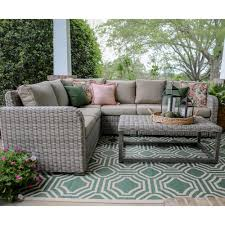 forsyth 5 piece wicker outdoor sectional set with tan cushions