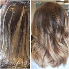 balayage hair painting on mid length hair balayage in denver