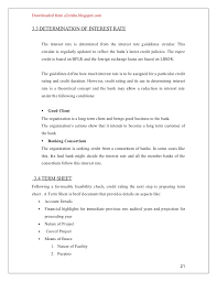 Project Finance Term Sheet Exle by 21042504 Union Bank Credit Appraisal Project Report