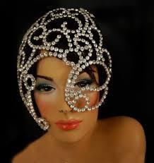 carnical rhinestone crystal eye hole mask mardi gras headdress