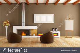 interior architecture modern interior with fireplace stock