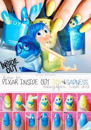 easy nail art characters pixar inside out joy sadness nails how to tutorial nail art nail
