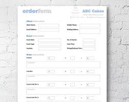 Microsoft Excel Form Templates Cake Cupcake And Cookie Decorating Business Printable Order