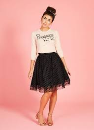 black tulle skirt with velvet polka dots joanie clothing