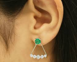 earring jacket 14k emerald earring stud emerald earring jacket emerald jacket