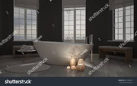 zen interiors illuminated candles inside minimalist bathroom spa stock