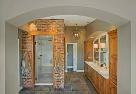 Arched Shower Door Thin Brick Veneer Bathroom Transitional With Arched Entry Clear