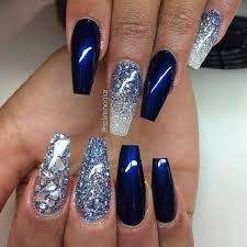 50 coffin nail art designs coffin nails navy blue color and