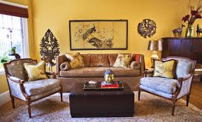 asianliving room design with bronze ornaments and small buddha