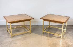 Drexel End Table by Brass Cane And Walnut End Tables By Kipp Stewart For Drexel