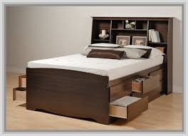 bedding elegant queen bed frame with drawers bookcase headboard