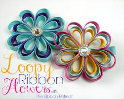 ribbon flowers loopy ribbon flowers the ribbon retreat