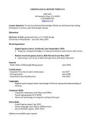 resume format template format of sle chronological resume template joodeh