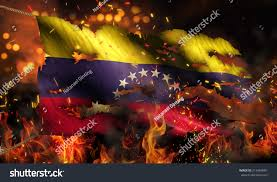 Burning Red Flag Venezuela Burning Fire Flag War Conflict Stock Illustration