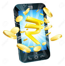 rupee money phone concept illustration of mobile cell phone with
