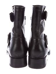 motorcycle booties frye leather moto booties shoes wf821927 the realreal
