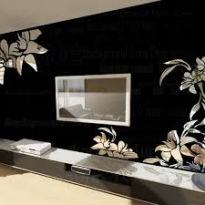 Decor Picture More Detailed Picture by Creative Diagonal Elegant Plant Flower Large Wall Mirror Stickers