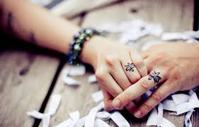 couple ring tattoos finger