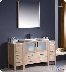 bathroom vanity with side cabinet 60 torino light oak modern bathroom vanity w 2 side cabinets