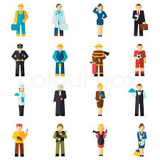 avatar professions flat avatars set with fireman pilot worker