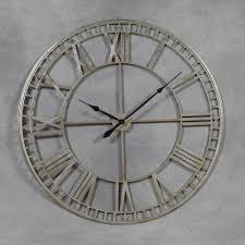 extra large antiqued silver metal round skeleton wall clock 120 cm