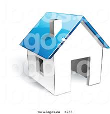 home logo icon royalty free vector logo icon of a 3d white home with blue roof